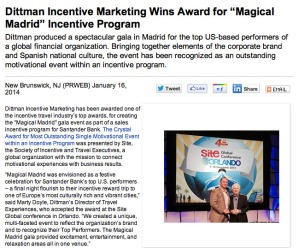 Press release for Dittman Incentive Marketing